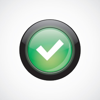 Ok glass sign icon green shiny button. ui website button
