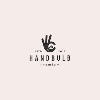Ok hand gesture bulb idea logo vector illustration