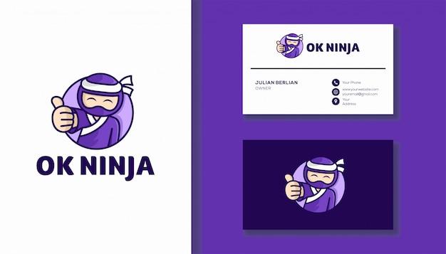 Ок ниндзя дизайн логотипа. милый персонаж ниндзя.