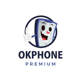 Ok phone thump up mascot character logo  icon illustration