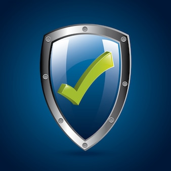 Ok shield over blue background vector illustration