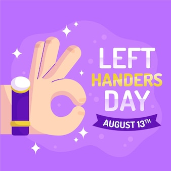 Ok sign left handers day flat design