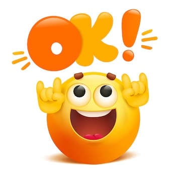 Ok yellow emoticon cartoon funny emoji character
