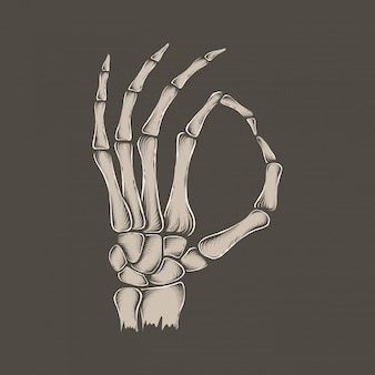 手描きのビンテージスケルトン[ok]手のベクトル図
