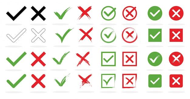 目盛りと十字の標識の大きなセット。緑のチェックマーク[ok]と白い背景の異なるデザインの赤いアイコン。シンプルなマークのグラフィックデザイン。