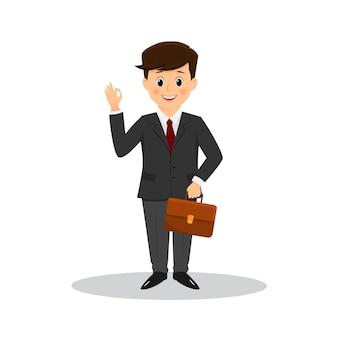 漫画のビジネスマンは指で[ok]をマークします。孤立した
