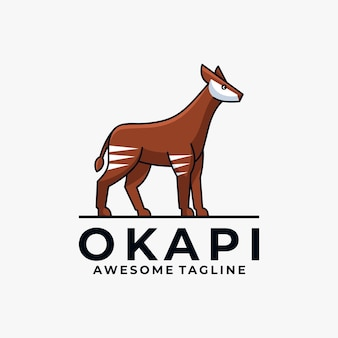 Okapi cartoon illustration logo design flat color