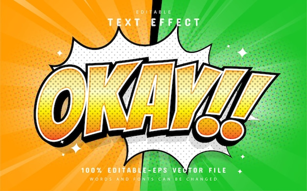 Okay text effect comic style