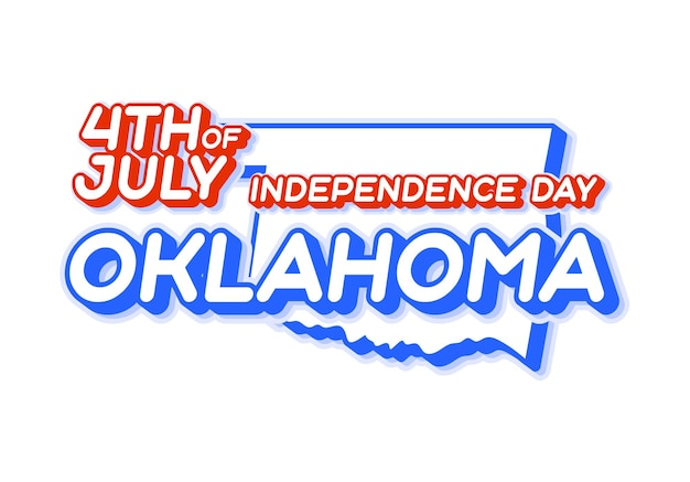 Oklahoma state 4th of july independence day with map and usa national color 3d shape of us