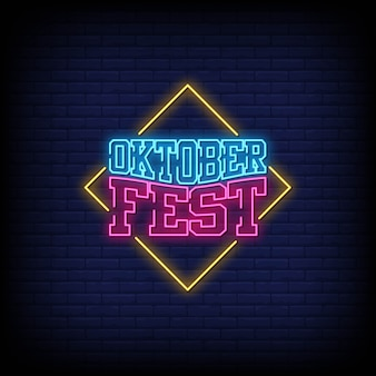 Oktober fest neon signs style text
