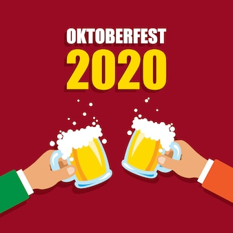 Oktoberfest 2020. cheers mugs of beer. autumn holidays. vector illustration isolated