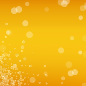 Oktoberfest background. beer foam. craft lager splash. czech pint of ale with realistic bubbles. cool liquid drink for pab. orange menu layout. yellow mug for beer background.
