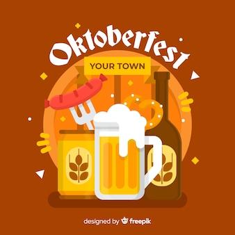 Oktoberfest background in flat style