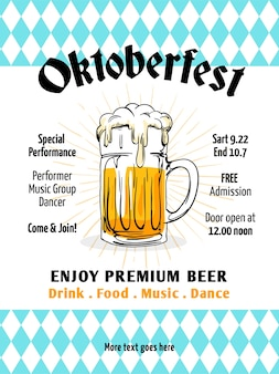 Oktoberfest background flyer template vector