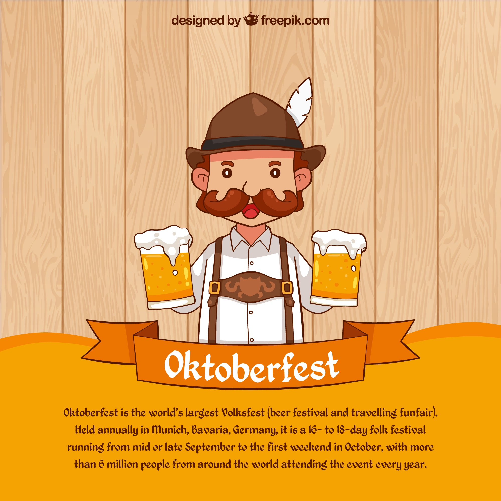 Oktoberfest background of man with beers