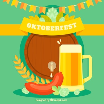 Oktoberfest, background with a beer and a sausage