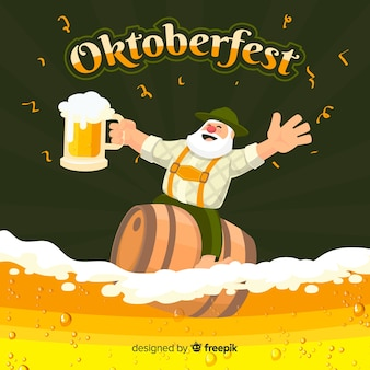 Oktoberfest background with beer and tirol