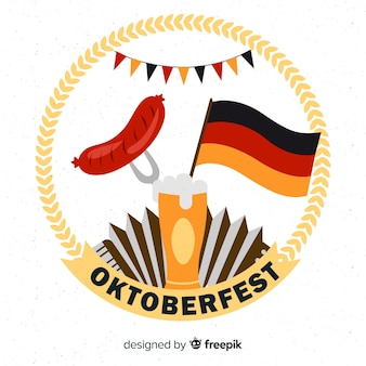 Oktoberfest background with beer and sausage