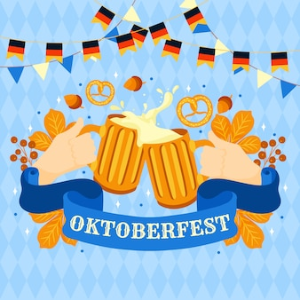 Oktoberfest background with beers and pretzels