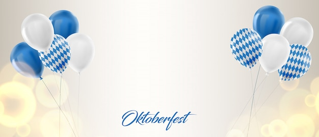 Oktoberfest background with blue and white balloons