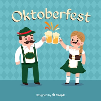 Oktoberfest background with couple