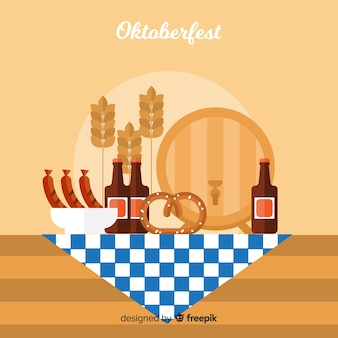 Oktoberfest background with food illustrations