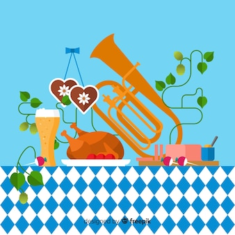 Oktoberfest background with food and music illustrations