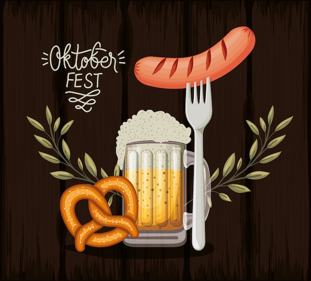 Oktoberfest background with food