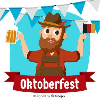 Oktoberfest background with german man