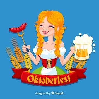 Oktoberfest background with girl celebrating