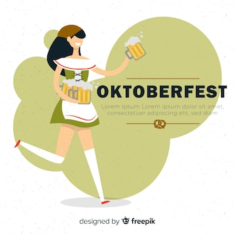 Oktoberfest background with girl