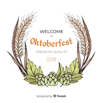 Oktoberfest background with hand drawn ingredients