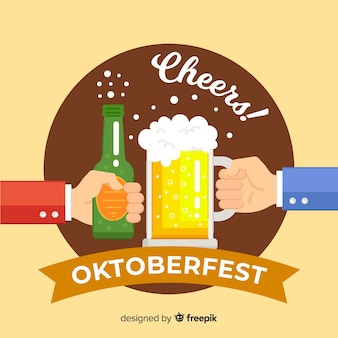 Oktoberfest background with hands holding beer