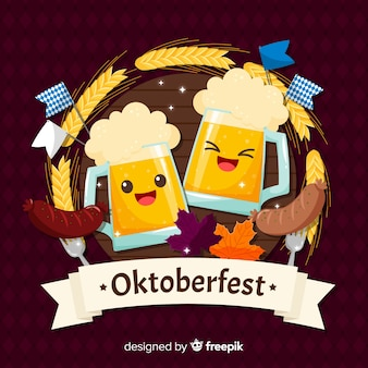 Oktoberfest background with happy beers