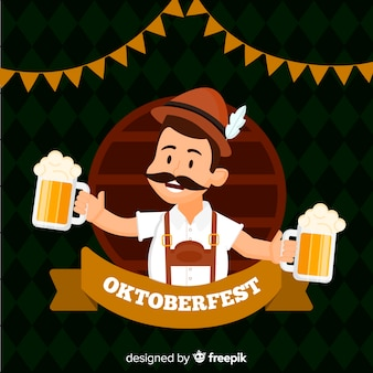 Oktoberfest background with happy man