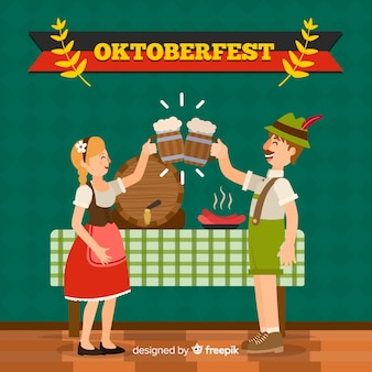 Oktoberfest background with happy people in flat design
