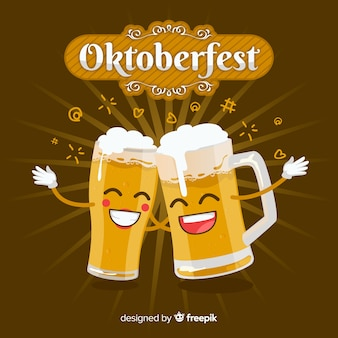 Oktoberfest background with jars of beer in flat design