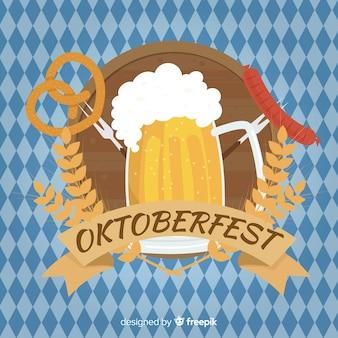 Oktoberfest background with jars of beer