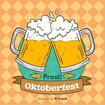 Oktoberfest background with jars of beer