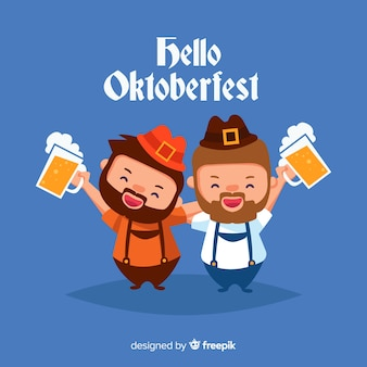 Oktoberfest background with men celebrating