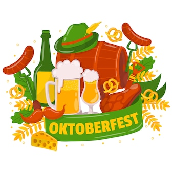 Oktoberfest background with traditional elements