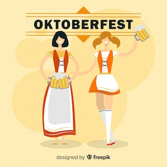 Oktoberfest background with two women