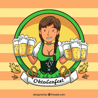 Oktoberfest background with woman character