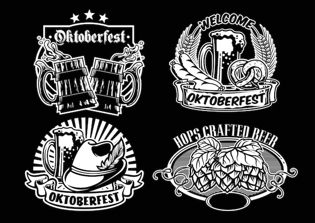Oktoberfest badge design collection in black and white