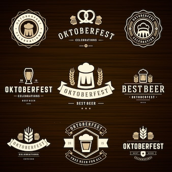 Oktoberfest badges and labels set vintage typographic templates