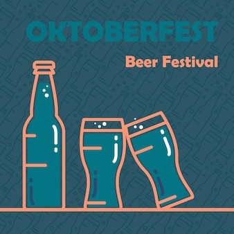 Oktoberfest banner. beer festival stylish design element for badge, sticker, poster and print, t-shirt, apparel. vector