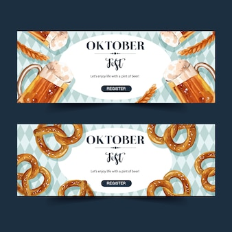 Oktoberfest banner design with beer, pretzel