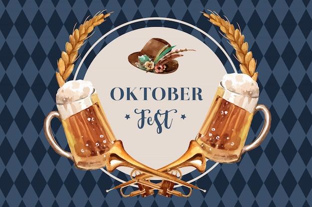 Октоберфест дизайн баннера с пивом, тирольской шляпой, пшеницей и трубой