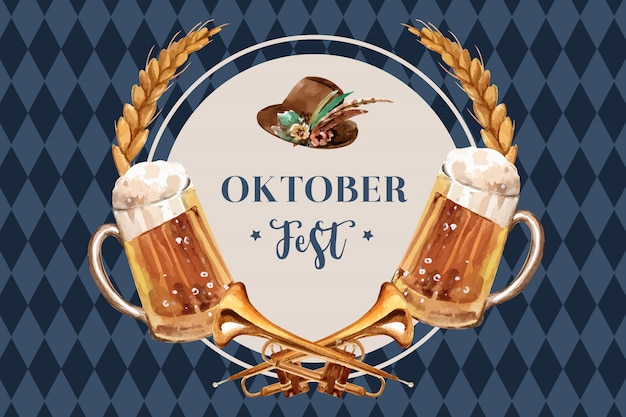 Oktoberfest banner design with beer, tyrolean hat, wheat and trumpet