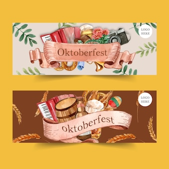 Oktoberfest banner design with pretzel, beer